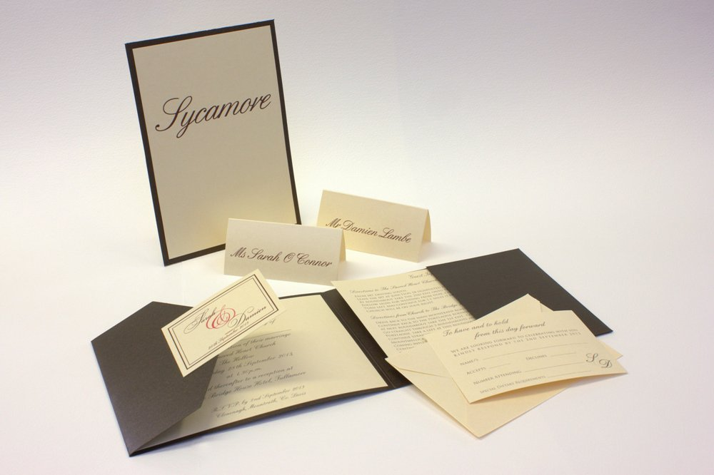 Image of Bronze Pocketfold Set Wedding Invitation