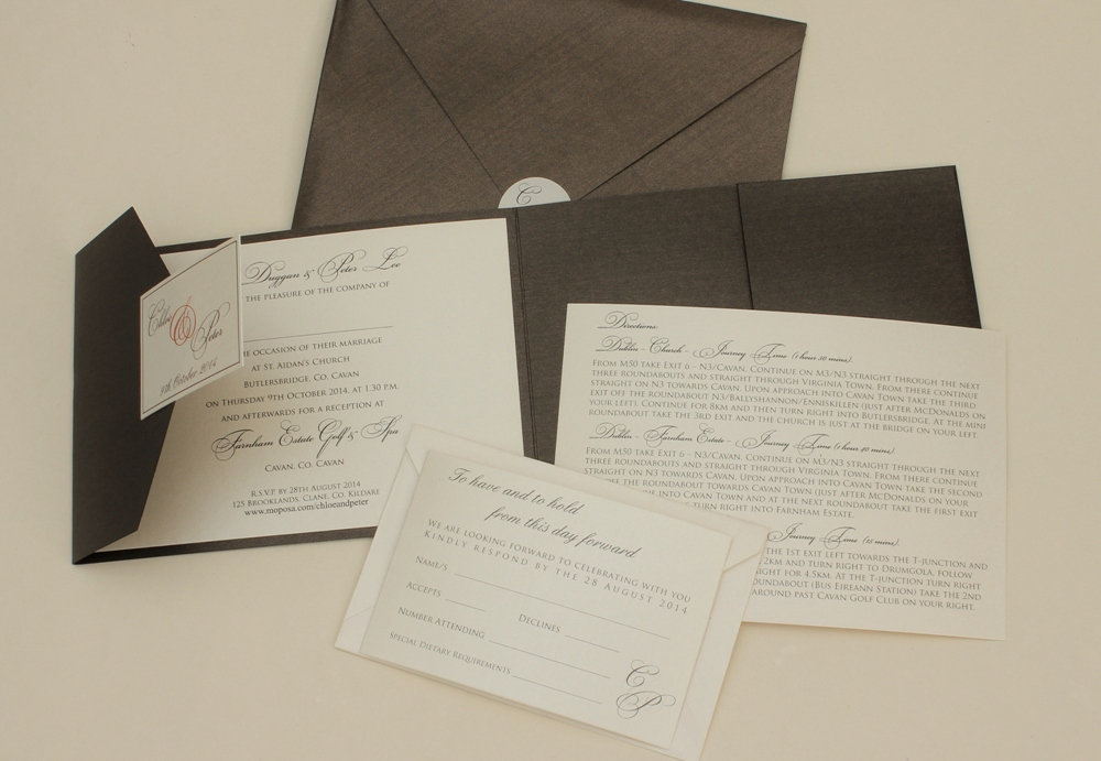 Alternate images for Bronze Pocketfold Set Wedding Invitation